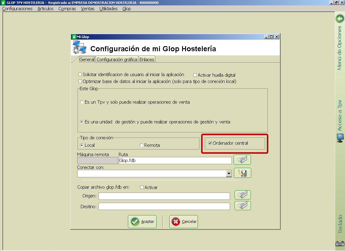 Crear terminal central en el software glop